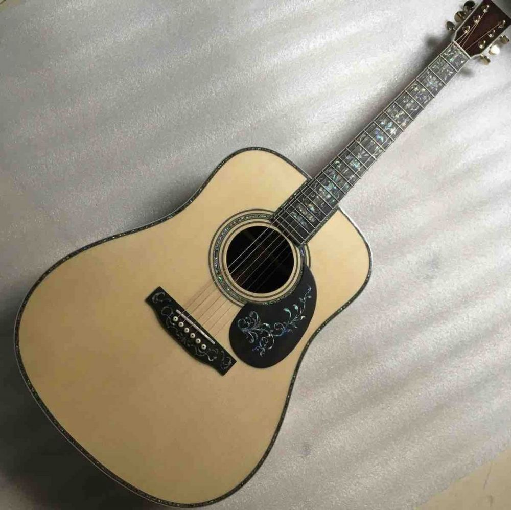 AAAA All Solid Europe Spruce Dreadnought D45AA Shape Acoustic Electric Guitar