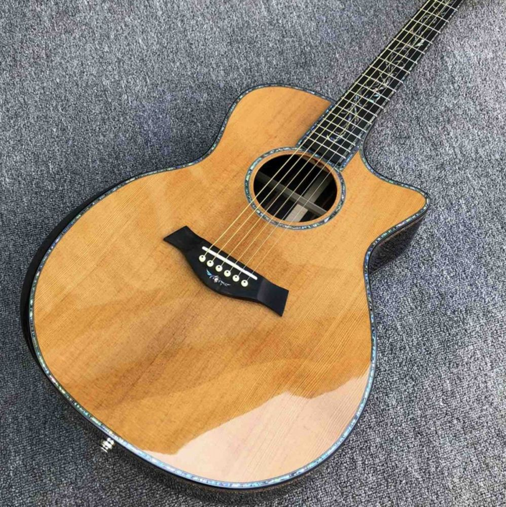 Real Abalone Cedar Top Cocobolo Back Sides PS14s Acoustic Guitar with Armrest
