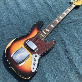 Heavy Relic Jazz Bass Electric Guitar Sunburst Color Alder Body with Nitrolacquer Finish Aged Hardware