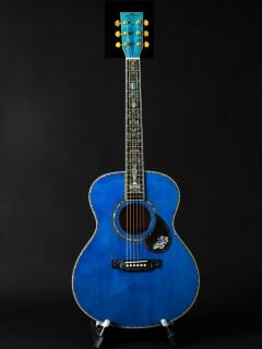 40 Inch Blue Burst Maple OM Style Solid Spruce Top Acoustic Guitar Abalone Inlay