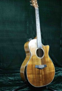 PS14AA Taylors Style Luxury Acoustic Guitar Full Solid AAA Koa Top & Back Side Real Abalone Inlay Ebony Fingerboard One Piece Wood Neck