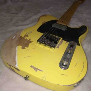 Nitrocellulose Paint Dyed Yellow Vestige Electric Guitar Manual Aging Hardware