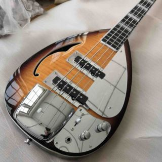 4 Strings Bass Half Hollow Body with Tiger Stripe Vox Electric Guitar Bass