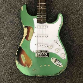 Custom Handmade Copy of old SRV ST Electric Guitar in Metallic Green