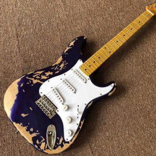 Relic Metal Blue Shining Color Electric Guitar with Maple Fingerboard