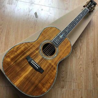 Custom 00045 All Solid KOA Wood Full Abalone Binding Ebony Fingerboard Mahogany Neck Acoustic Guitar