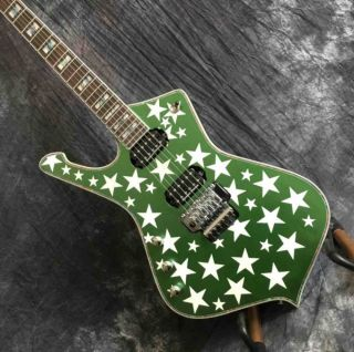 Custom Irregular Shape Electric Guitar with Pentagram Shell Mosaic Fingerboard in Green Color